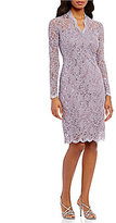 Marina Long-Sleeve Floral-Lace Dress