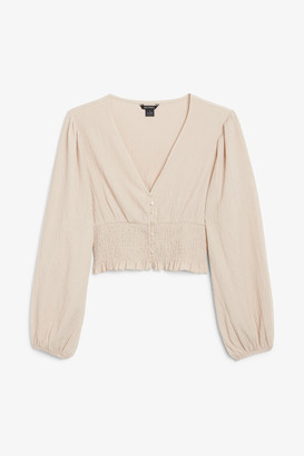 Monki Shirred waist blouse