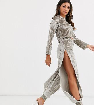 Fashionkilla crushed velvet split side jogger in shadow grey