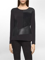 Calvin Klein Suede Faux Leather Patchwork Top