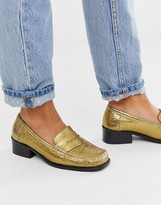 Asos DESIGN Marley 90's leather loafer flat shoes in gold