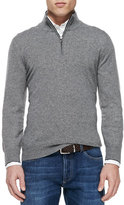 Brunello Cucinelli Cashmere Half-Zip Sweater, Gray