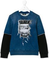 Diesel printed layered sweatshirt