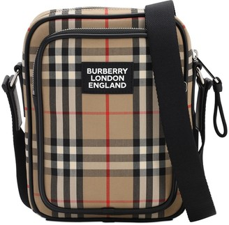 Burberry Logo Canvas Check Freddie Messenger Bag