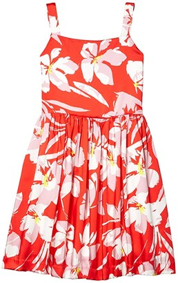 Milly Hibiscus Print Emaline Dress (Big Kids) (Coral Multi) Girl's Dress