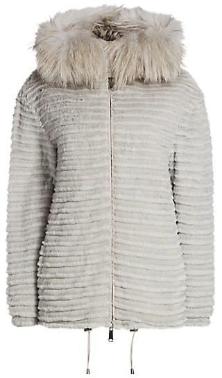 The Fur Salon Julia & Stella For Fox & Rabbit Fur-Trimmed Hooded Mink Jacket