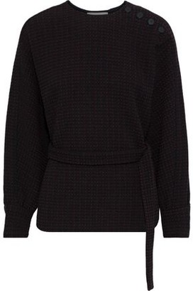 BA&SH Dunon Belted Jacquard-knit Top