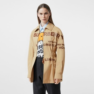 Burberry Leather Horseferry Applique Cotton Riding Jacket