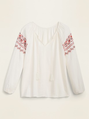 Old Navy Embroidered Tie-Neck Boho Blouse for Women