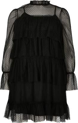 River Island Womens Plus Black frill mesh mini skater dress