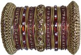 Indian Bridal Collection! Panache' Bangles Set in Gold Tone By BangleEmporium. Medium Size 2.8