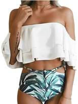 Ewlan Women'S Boho Flounce Falbala Off Shoulder One-Piece Swimsuit Bikini