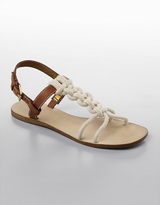 Delphi Braided-Rope T-Strap Sandals