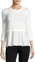Rebecca Taylor Terry Ruffle-Hem 3/4-Sleeve Top, White