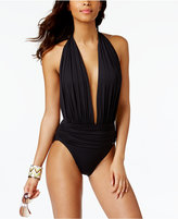 Vince Camuto Halter Plunging One-Piece Swimsuit