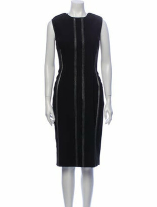 Lanvin Crew Neck Midi Length Dress Black