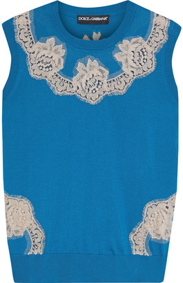 Dolce & Gabbana Lace-appliqued Silk Sweater