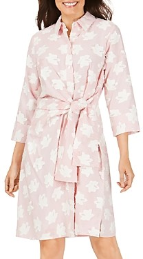 Foxcroft Parisian Clipped Floral Self-Tie Dress