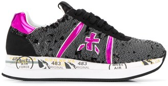Premiata Sequinned Graffiti Sole Trainers