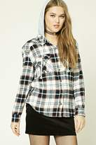 Forever 21 FOREVER 21+ Hooded Plaid Flannel Shirt