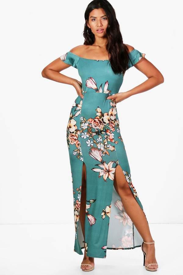 boohoo Kate Printed Bardot Maxi Dress teal