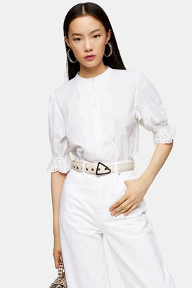 Topshop Womens Ivory Broderie Short Sleeve Shirt - Ivory