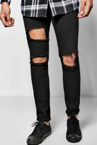 Boohoo Skinny Fit Rigid Jeans With Open Rips