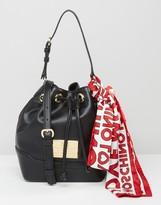 Love Moschino Bucket Bag With Logo Scarf