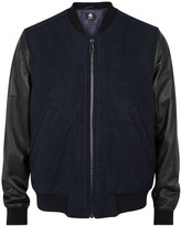 Ps By Paul Smith Two-tone Leather And Bouclé Bomber Jacket