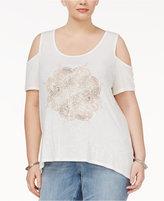 Jessica Simpson Trendy Plus Size Cold-Shoulder Graphic T-Shirt