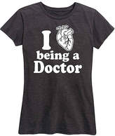 Instant Message Women's Women's Tee Shirts HEATHER - Heather Charcoal 'I Love Being a Doctor' Relaxed-Fit Tee - Women & Plus