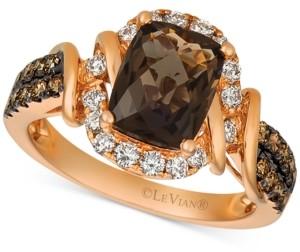 LeVian Le Vian Chocolate Quartz (1-3/4 ct. t.w.) & Diamond (5/8 ct. t.w.) Statement Ring in 14k Rose Gold