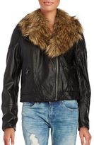 Free People Removable Faux Fur Collar Motorcycle Jacket