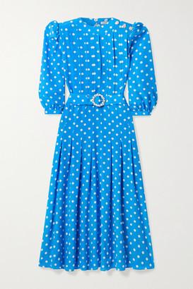 Alessandra Rich Pintucked Embellished Polka-dot Silk Crepe De Chine Midi Dress - Azure