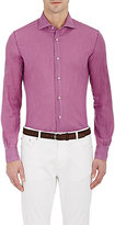 Barneys New York MEN'S PIQUÉ BUTTON-FRONT SHIRT-PURPLE SIZE M