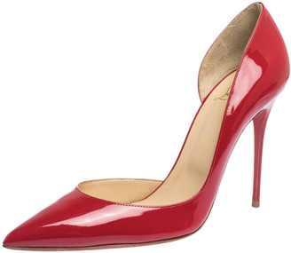 Christian Louboutin Red Patent Leather Iriza D'orsay Pumps Size 41