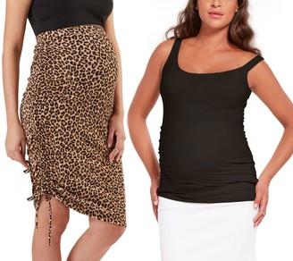 Stowaway Collection Animal-Print Maternity Top& Skirt Set