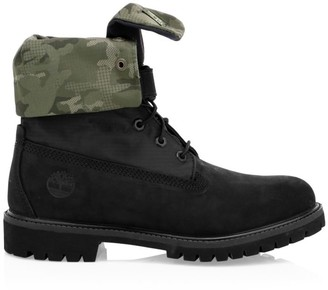 Timberland Premium Camo Print-Trim Leather & Canvas Combat Boots
