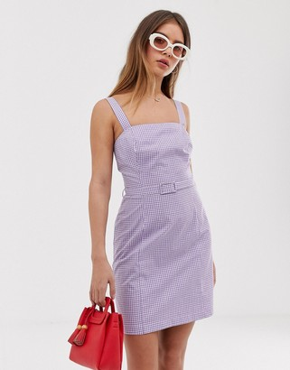 Nobody's Child cami dress in gingham with waist belt