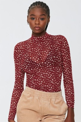 Forever 21 Sheer Spotted Print Top