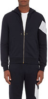 Moncler Gamme Bleu Men's Stripe-Detail Cotton Zip-Front Hoodie-NAVY, WHITE, NO COLOR