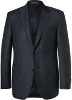 Canali Blue Slim-fit Super 130s Wool Suit Jacket