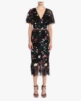 Marchesa V Neck 3D-Floral Tulle Cocktail Dress