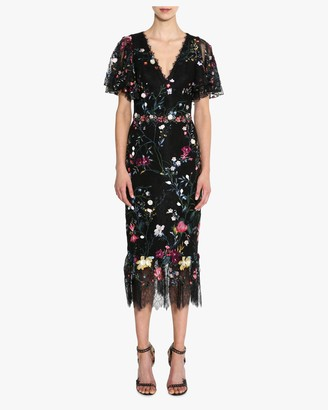 Marchesa V Neck 3D-Floral Tulle Cocktail Dress