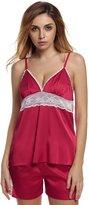 Ekouaer Women's Short Pajama Set with Lace Trim Solid Short Set
