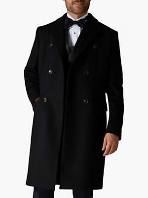 Jaeger Italian Wool Cashmere Double Breasted Overcoat, Black