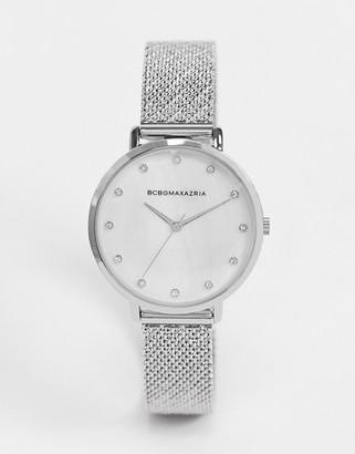 BCBGMAXAZRIA silver mesh strap watch