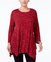 Style&Co. Style & Co. Plus Size Space-Dyed Handkerchief Hem Tunic, Only at Macy's