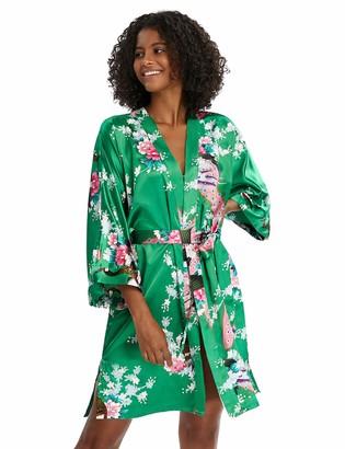 BABEYOND Women's Short Kimono Dressing Gown Peacock Printed Satin Kimono Cardigan Knee Length Robe for Nightwear Girl's Bonding Party Wedding Pajama Party(Green)