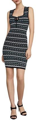 BCBGMAXAZRIA Dotted Stripe Bodycon Dress